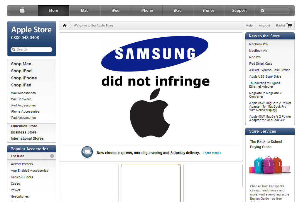 Judge Forces Apple To Say Samsung Did Not Infringe Them