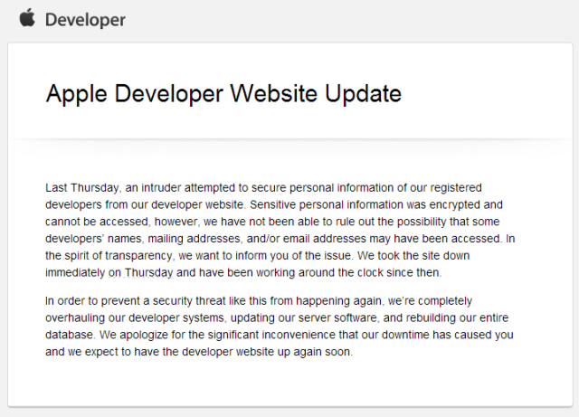 Apple Dev database down